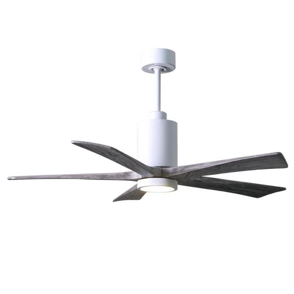 Patricia 52 in. LED Indoor/Outdoor Damp Gloss White Ceiling Fan with Light