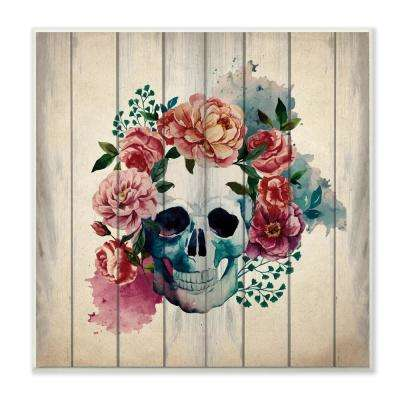 "12 in. x 12 in. ""Floral Skull Watercolor On Planks"" by Kimberly Allen Printed Wood Wall Art"