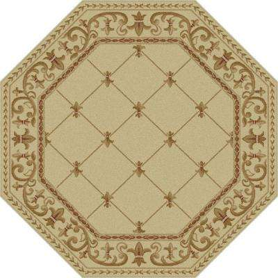 Sensation Ivory 5 ft. 3 in. x 5 ft. 3 in. Octagon Traditional Area Rug