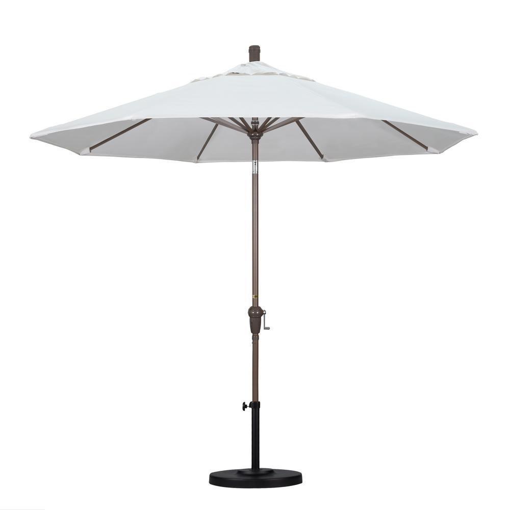 9 ft. Champange Aluminum Pole Market Aluminum Ribs Auto Tilt Crank Lift Patio Umbrella in Natural Sunbrella