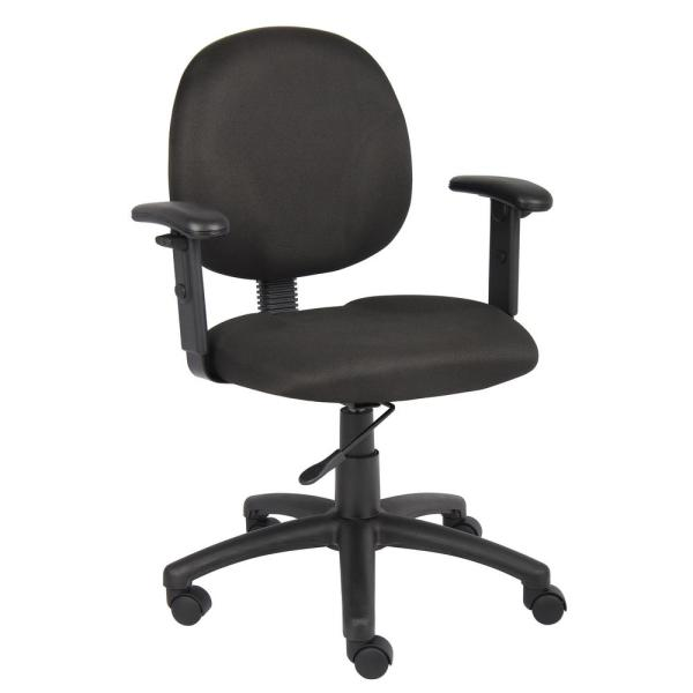 Boss Office Black Fabric Cushions Adjustable Arms Swivel Tilt Pneumatic Lift Office Task Chair B9091 Bk The Home Depot