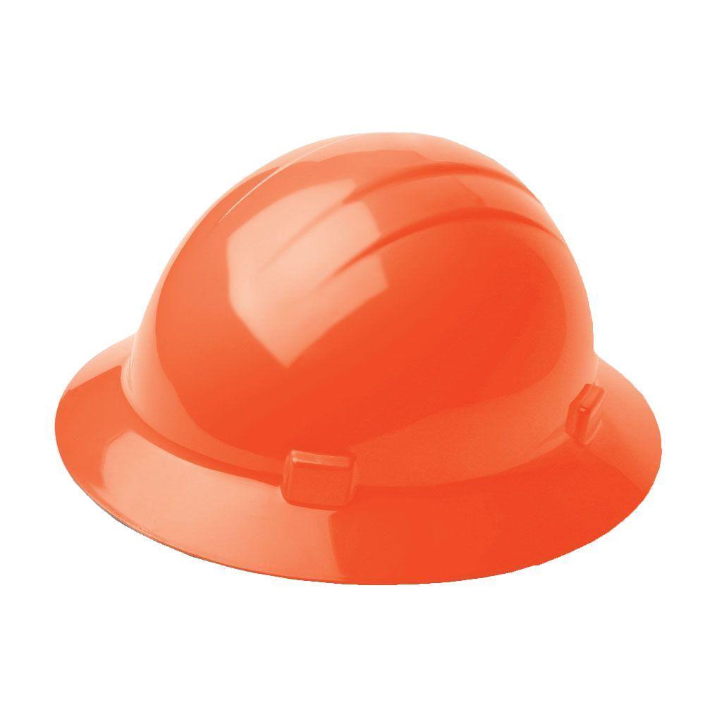 4 Point Nylon Suspension Slide-Lock Full Brim Hard Hat in Orange
