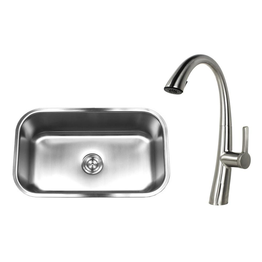 Undermount Stainless Steel 30 in. Single Bowl Kitchen Sink with Faucet