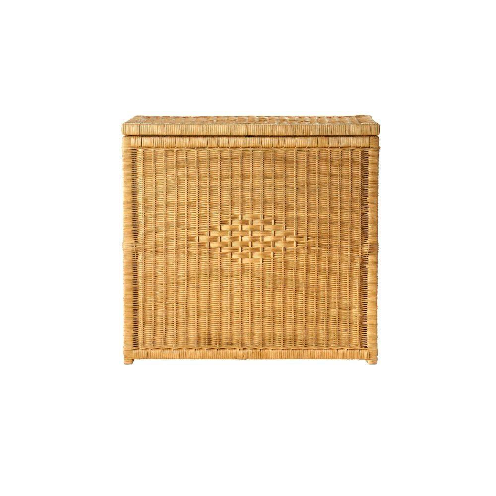 Home Decorators Collection Rattan 26 in. W Honey Double Bin Laundry Hamper
