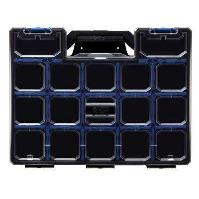 17-Compartment Wall Mount Pro-Go Divided Small Parts Organizer, Blue