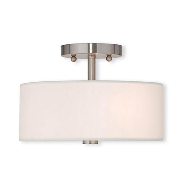 Meridian 2 Light Brushed Nickel Flush Mount