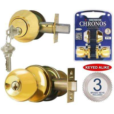 Single Cylinder Polished Brass Finish Combo Set and Premium Entry Knob Set