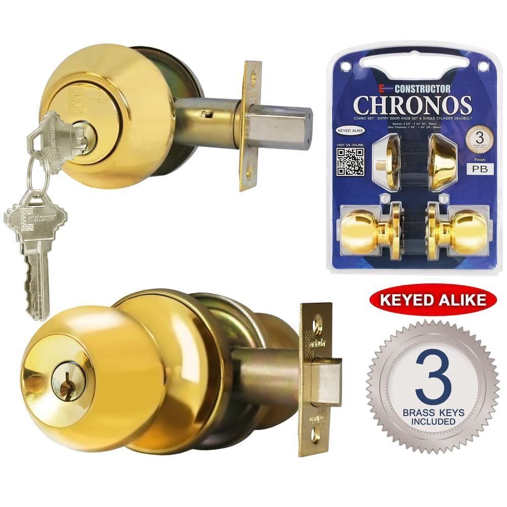 Single Cylinder Polished Brass Finish Combo Set and Premium Entry Knob Set