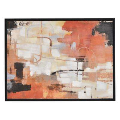 30 in. x 40 in. Abstract Oil Painting Framed in Black