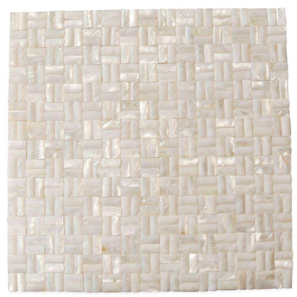 Splashback Tile Mother of Pearl Serene White 12 in. x 12 ...