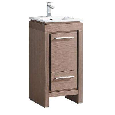 Allier 16 in. Bath Vanity in Gray Oak with Ceramic Vanity Top in White with White Basin