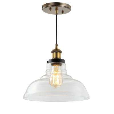 Litchfield 11 in. 1-Light Brass Gold Farmhouse Metal/Glass LED Pendant