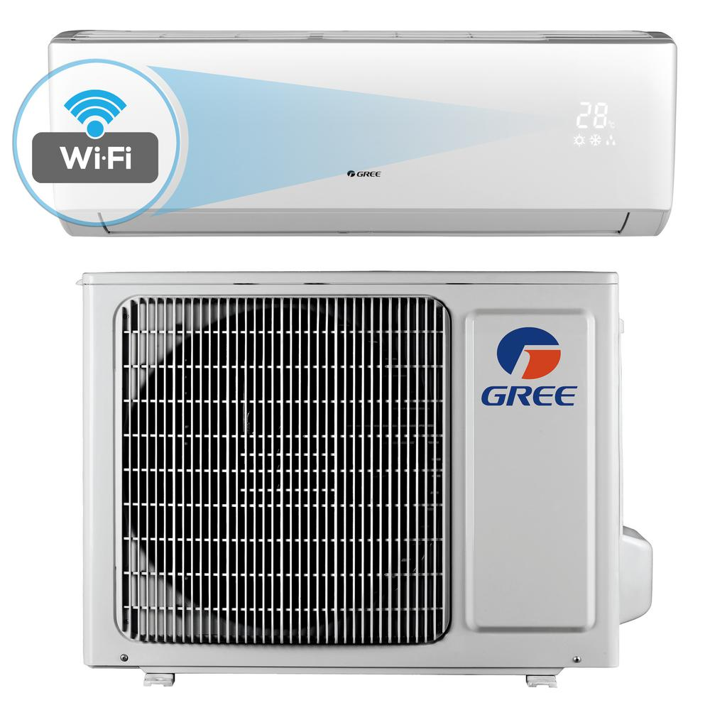 GREE Livo 12,000 BTU 1 Ton Wi-Fi Programmable Ductless Mini Split Air Conditioner with Inverter, Heat, Remote - 115V/60Hz