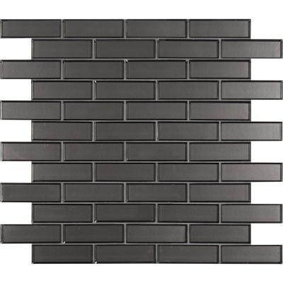 Metallic Gray Bevel Subway 11.73 in. x 11.73 in. x 8mm Glass Mesh-Mounted Mosaic Tile (9.6 sq. ft. / case)