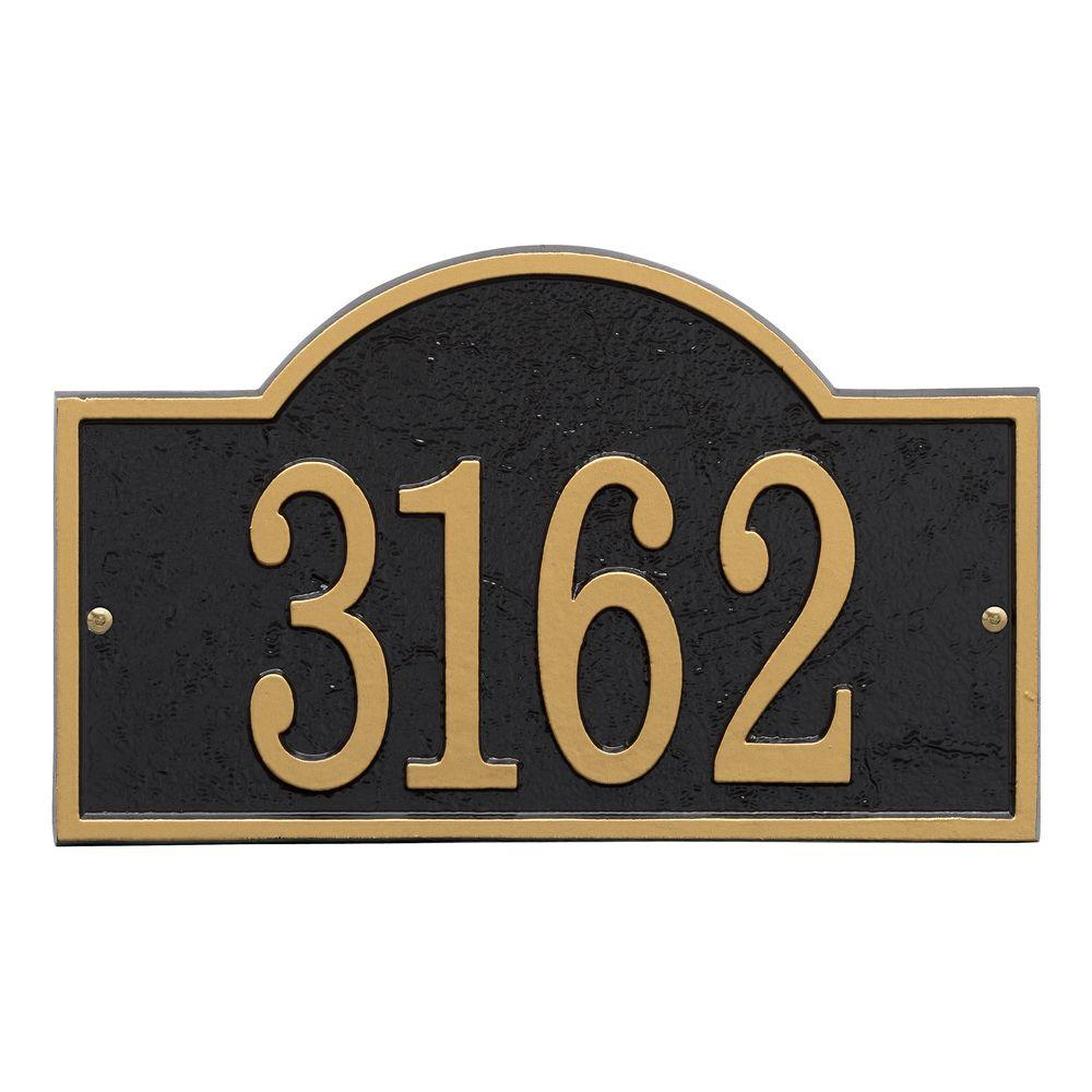 Fast and Easy Arch House Number Plaque, Black/Gold