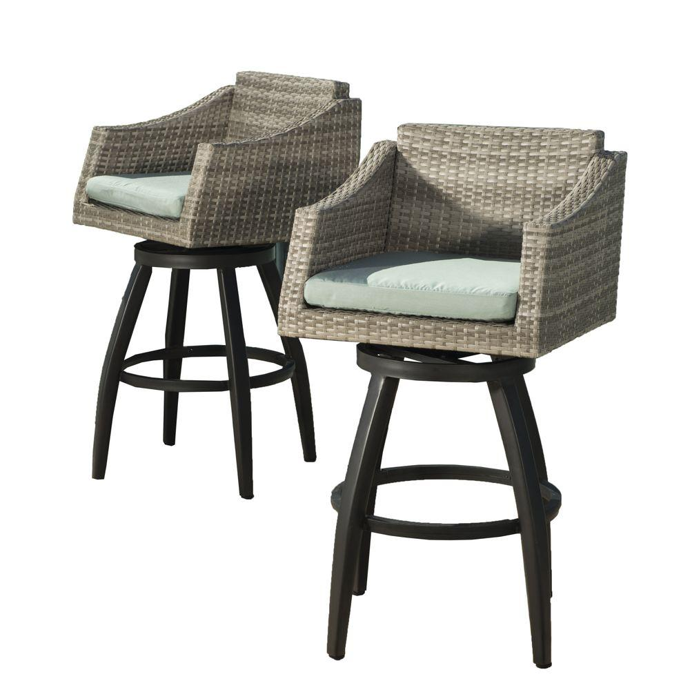 Rst Brands Cannes All Weather Wicker Motion Patio Bar Stool With Spa Blue Cushions