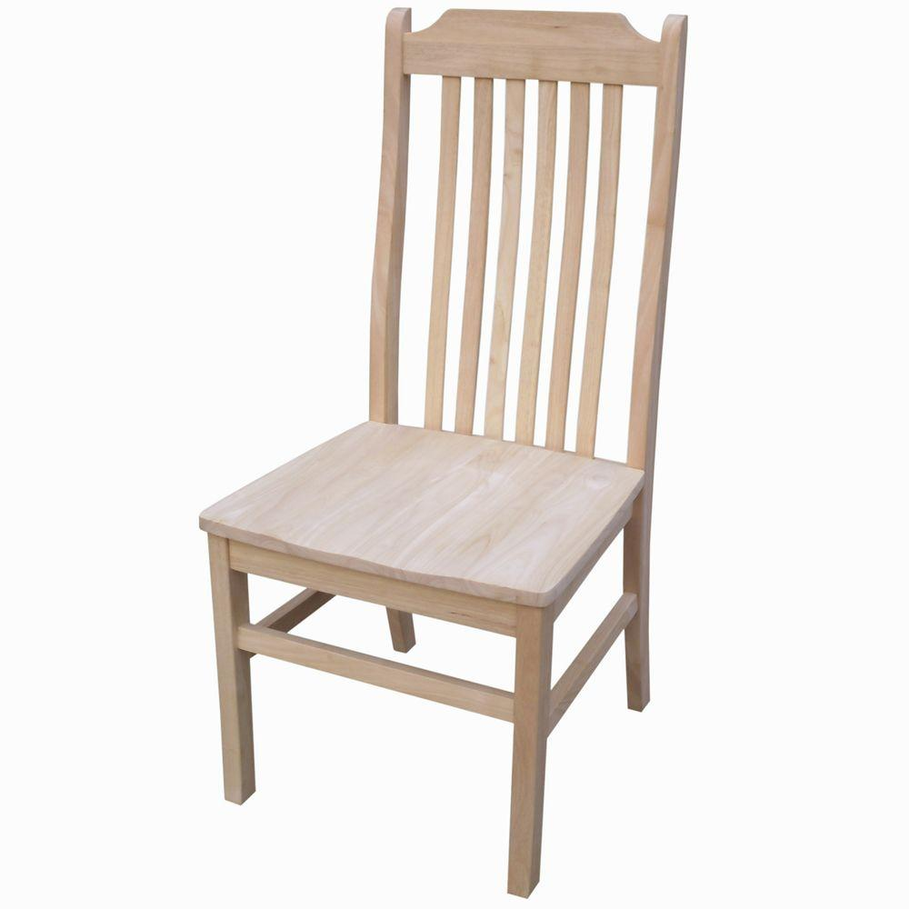 International Concepts Unfinished Tall Mission Chair (Set of 2)
