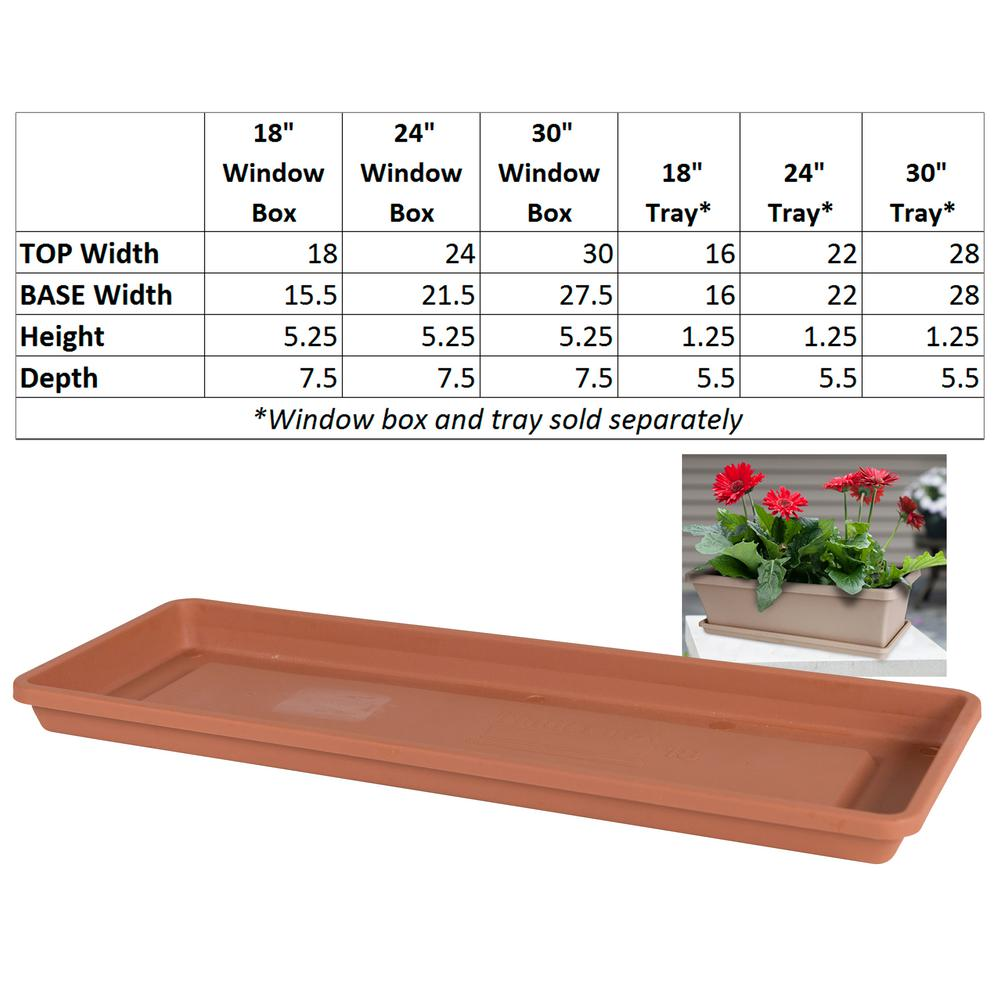 Terra 24 in. Terra Cotta Plastic Window Box Saucer