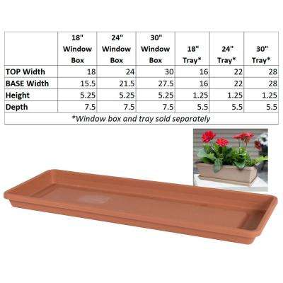 24 x 1.25 Terra Cotta Terra Plastic Window Box Tray Saucer