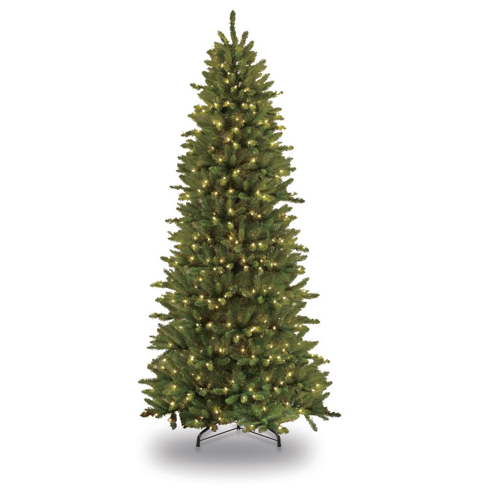 Puleo International 9 ft. Pre-Lit Incandescent Slim Fraser Fir Artificial Christmas Tree with 800 UL Clear Lights