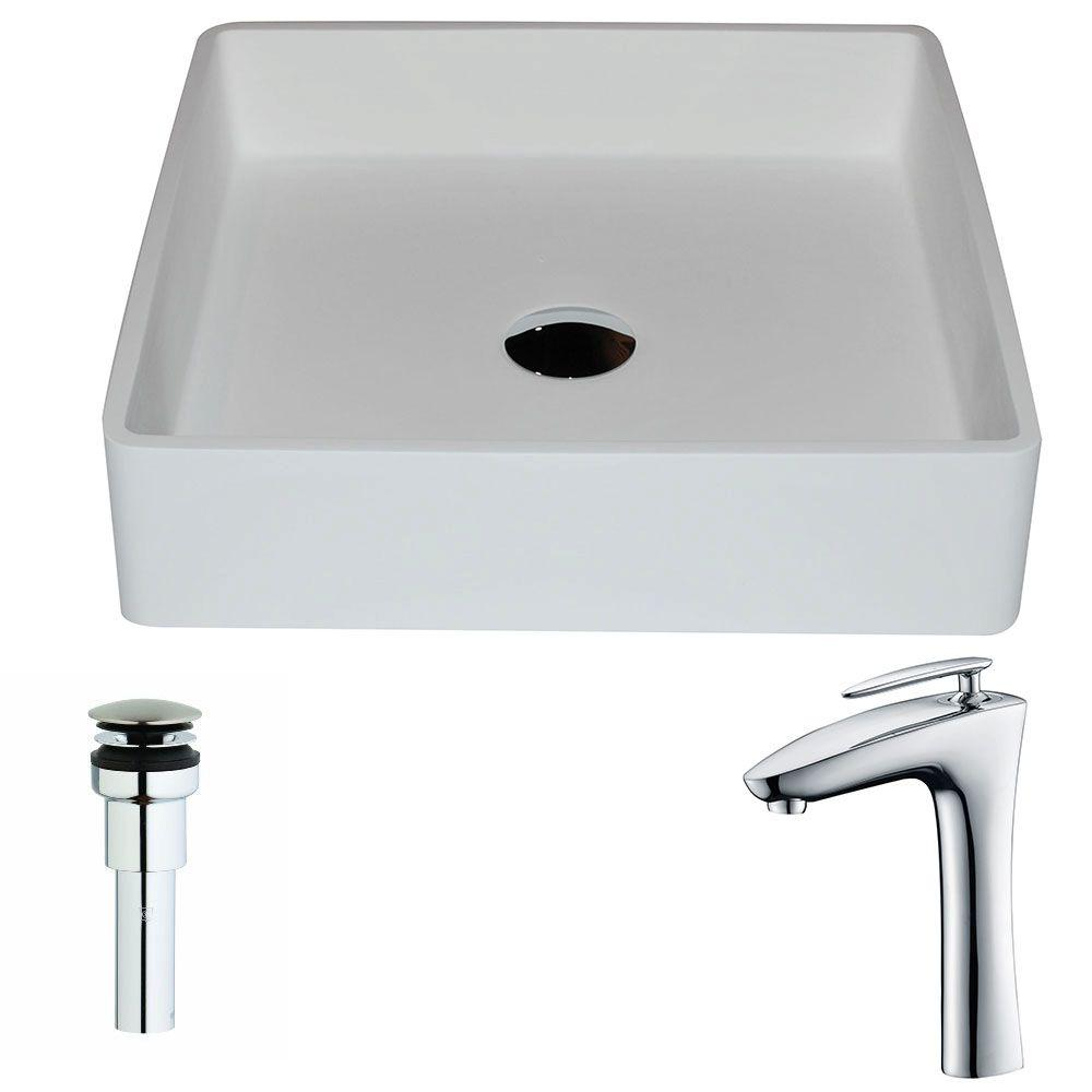 Passage Series 1-Piece Man Made Stone Vessel Sink in Matte White