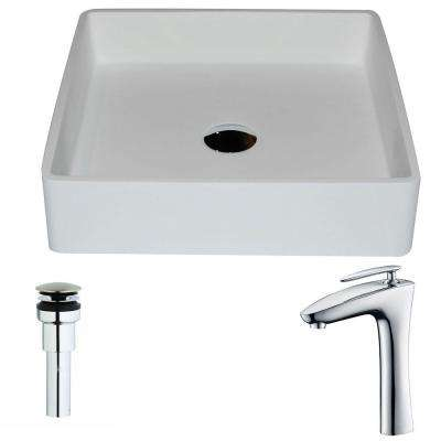 Passage Series 1-Piece Man Made Stone Vessel Sink in Matte White with Crown Faucet in Polished Chrome