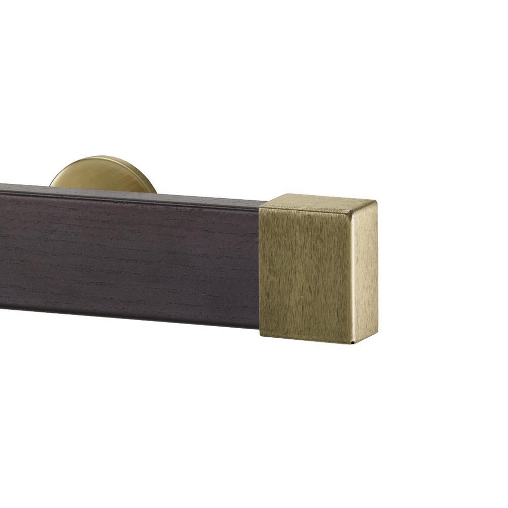 Kontur Wood 106 in. Single Traverse Rod Set in Wenge with Endcap in Antique