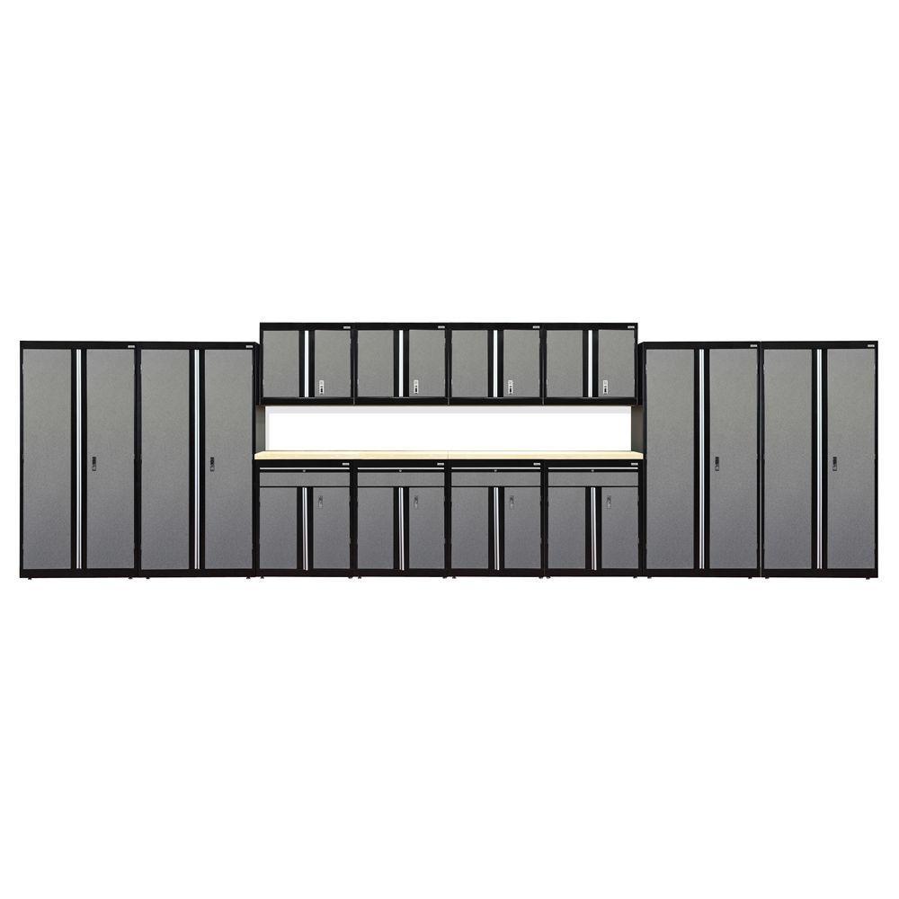 72 in. H x 264 in. W 18 in. D Modular Garage Welded Steel Cabinet Set in Black/Multi-Granite (14-Piece)