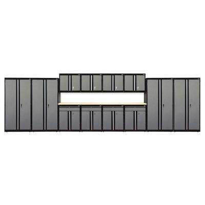 72 in. H x 264 in. W 18 in. D Modular Garage Welded Steel Storage System in Black/Multi-Granite (14-Piece)