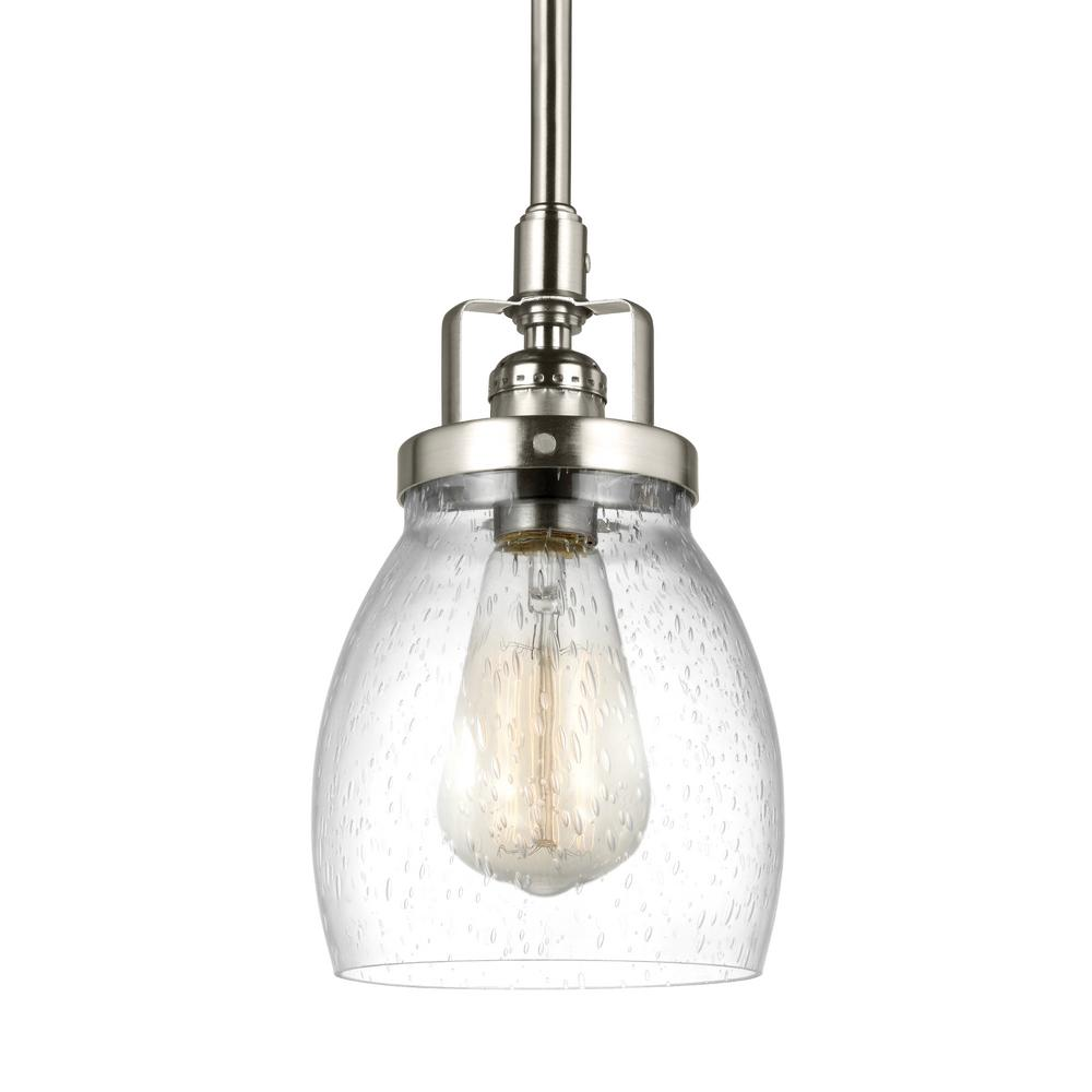 Kitchen Pendant Lights Home Depot: Sea Gull Lighting Belton 1-Light Brushed Nickel Pendant