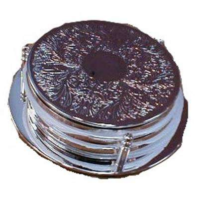 7-Piece 4 in. Dia Silver Plated Coaster Set