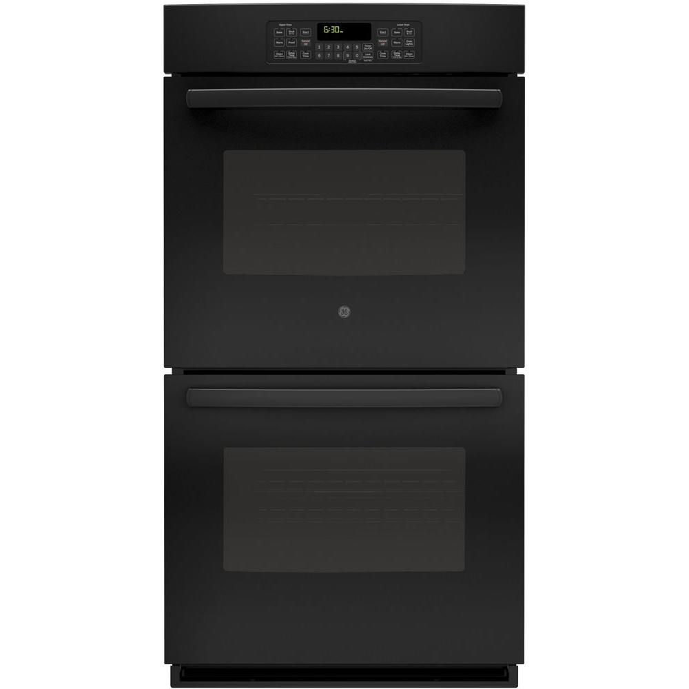 GE 27 in. Double Electric Wall Oven Self-Cleaning with Steam in Black