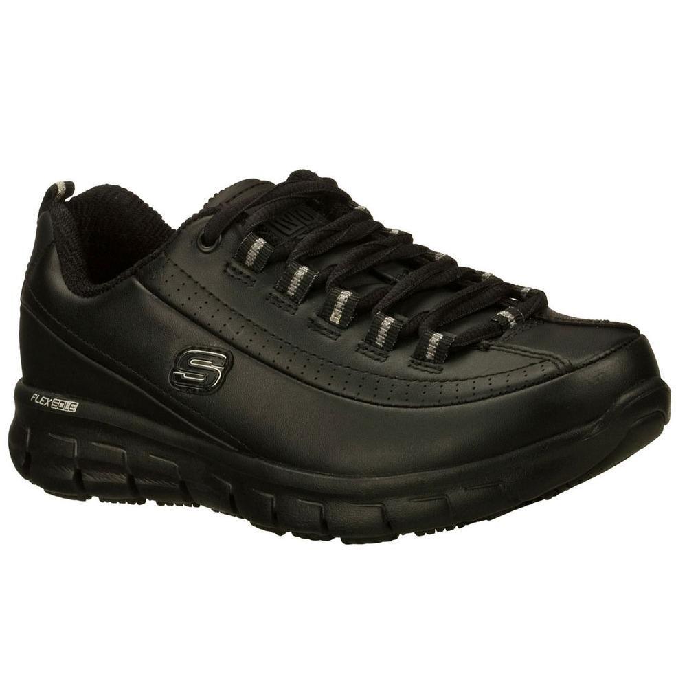 Sure Track - Trickel Women Size 6 Black Leather Work Shoe