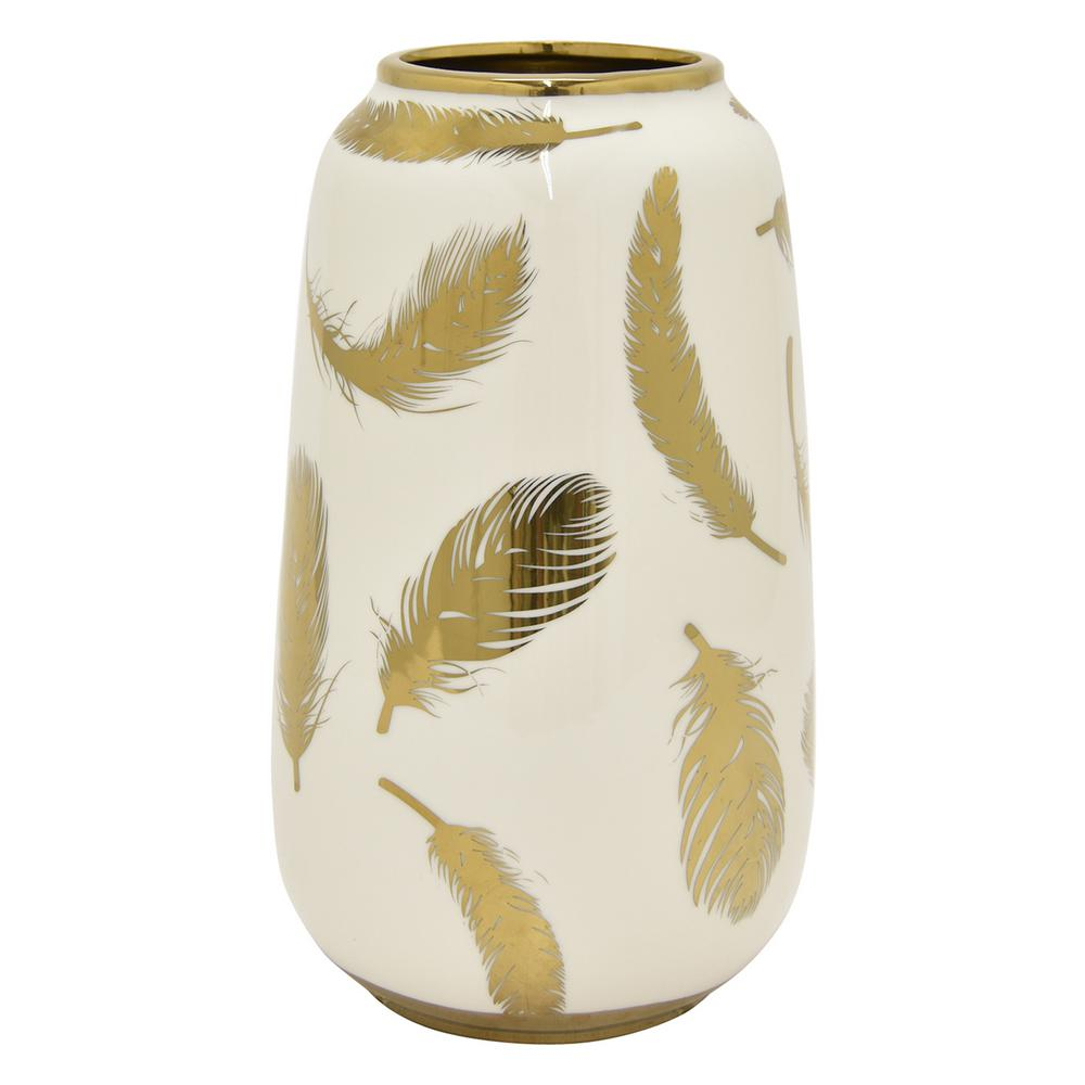 11.75 in. White and Gold Porcelain Vase