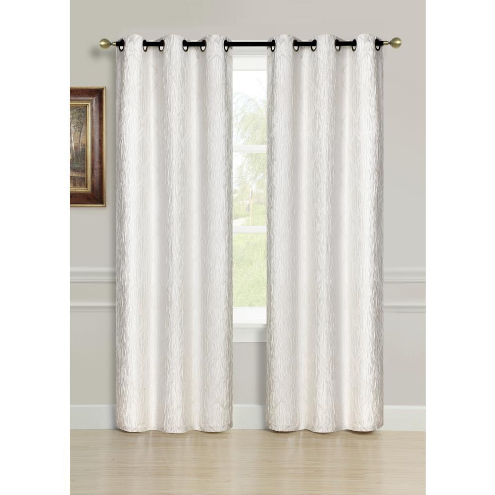 96 inch Avante Grommet Curtain Panel Pair in Ivory (2-Pack) by
