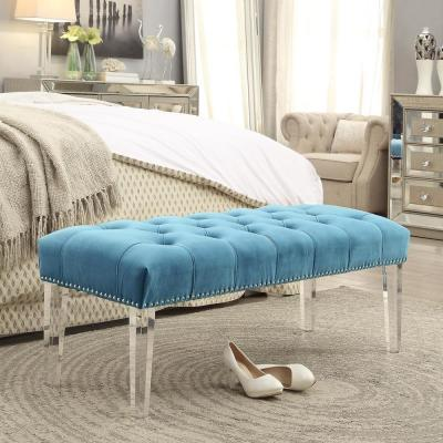 Willow Light Blue/Silver Velvet Ottoman Bench with Button Tufted Nailhead Trim Acrylic Leg