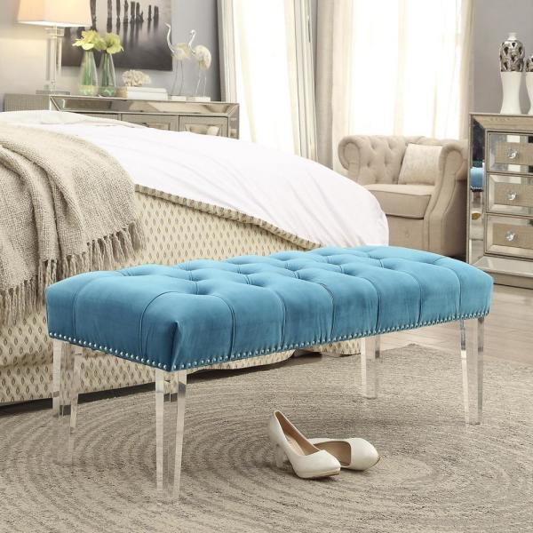 Inspired Home Willow Light Blue/Silver Velvet Ottoman Bench with Button Tufted