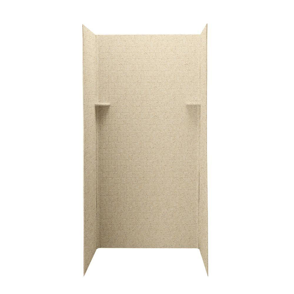 Swan Tangier 36 in. x 36 in. x 72 in. Three Piece Easy Up Adhesive Shower Wall in Bermuda Sand-DISCONTINUED