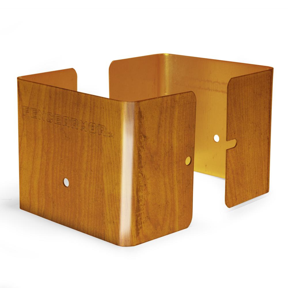 Fence Armor Redwood Fence Post Guard 3.5 in. L x 3.5 in. W x 3 in. H for Wood