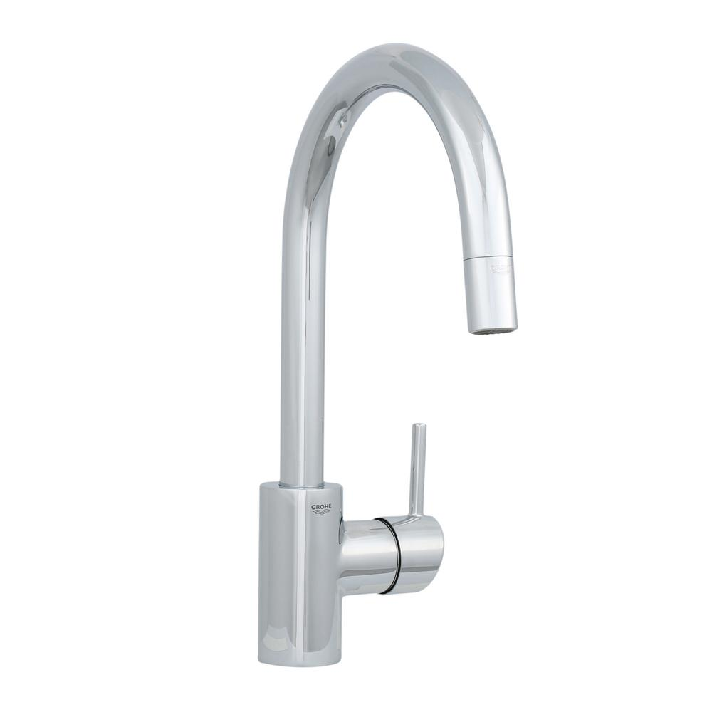 GROHE Concetto Single Handle Pull Out Sprayer Kitchen Faucet In StarLight  Chrome