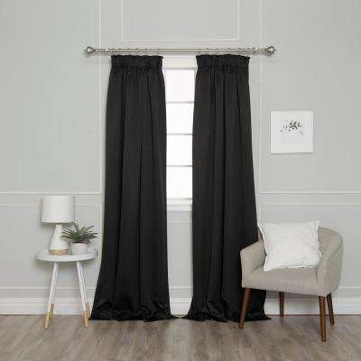84 in. L Pencil Pleat Blackout Curtains in BLack (2-Pack)