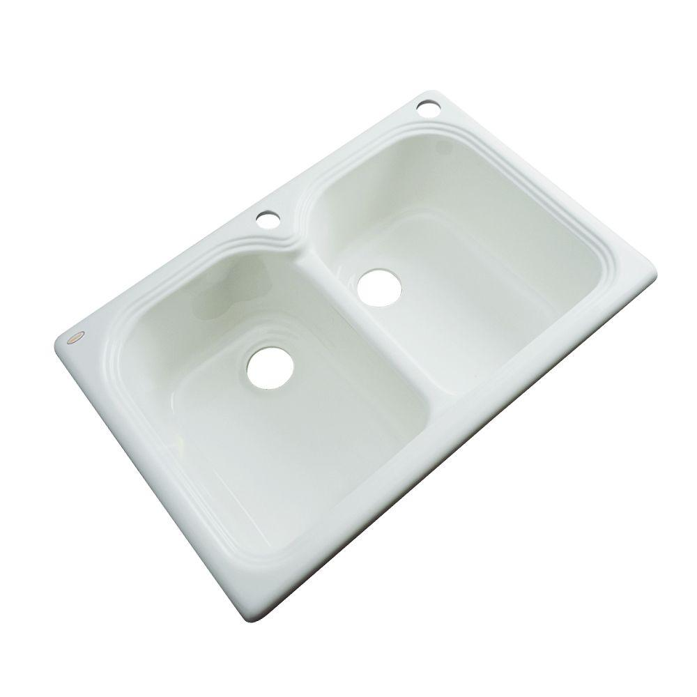 Hartford Drop-In Acrylic 33 in. 2-Hole Double Bowl Kitchen Sink in
