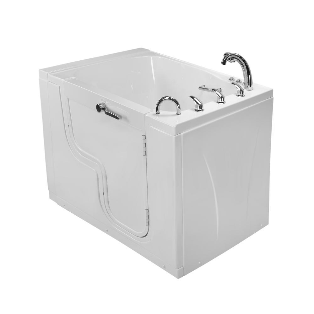 Ella Wheelchair TransferXXXL 55 in. Walk-In Air Bath and MicroBubble Bathtub in White, Fast Fill Faucet Set, Right Dual Drain