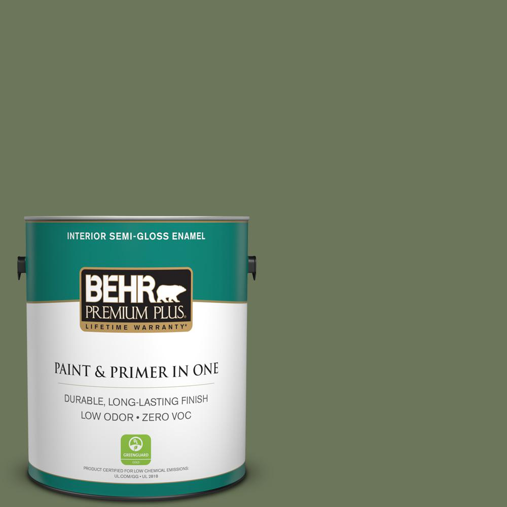 BEHR Premium Plus 1 gal. #420F-6 Egyptian Nile Semi-Gloss Enamel Zero VOC Interior Paint and Primer in One