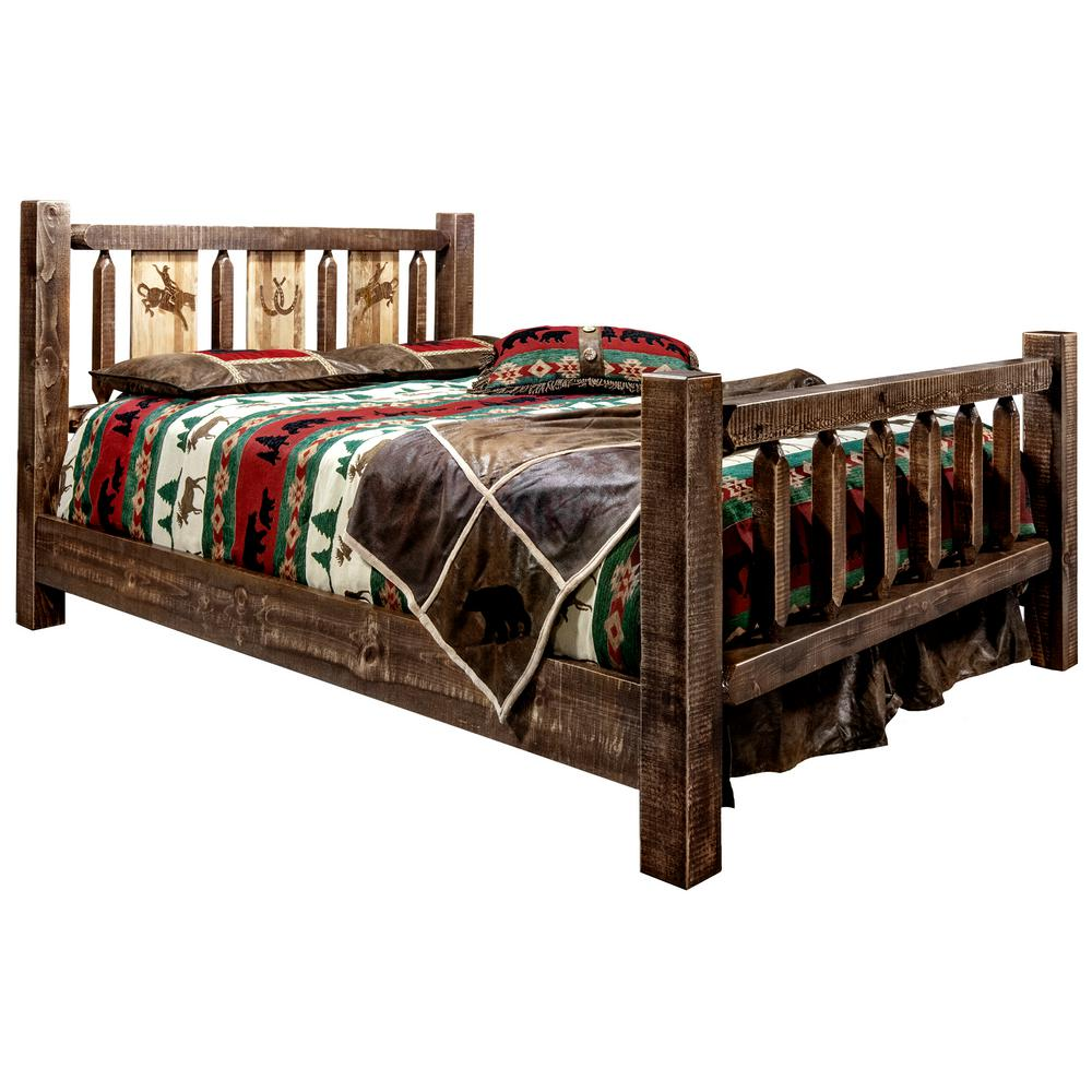 Homestead Collection Medium Brown Queen Laser Engraved Bronc Motif Spindle Style Bed