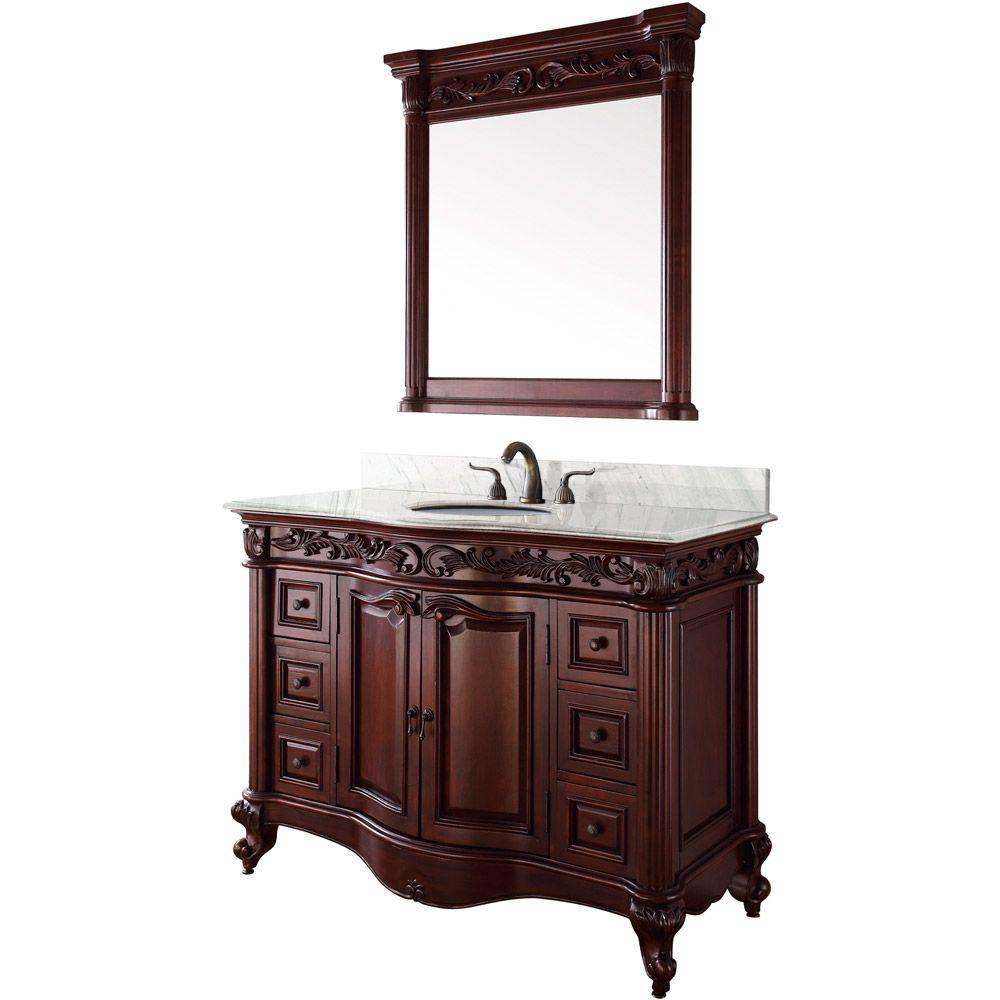Wyndham Collection Eleanor 49 in. Vanity in Cherry with Marble Vanity Top in Carrera White and Mirror-DISCONTINUED