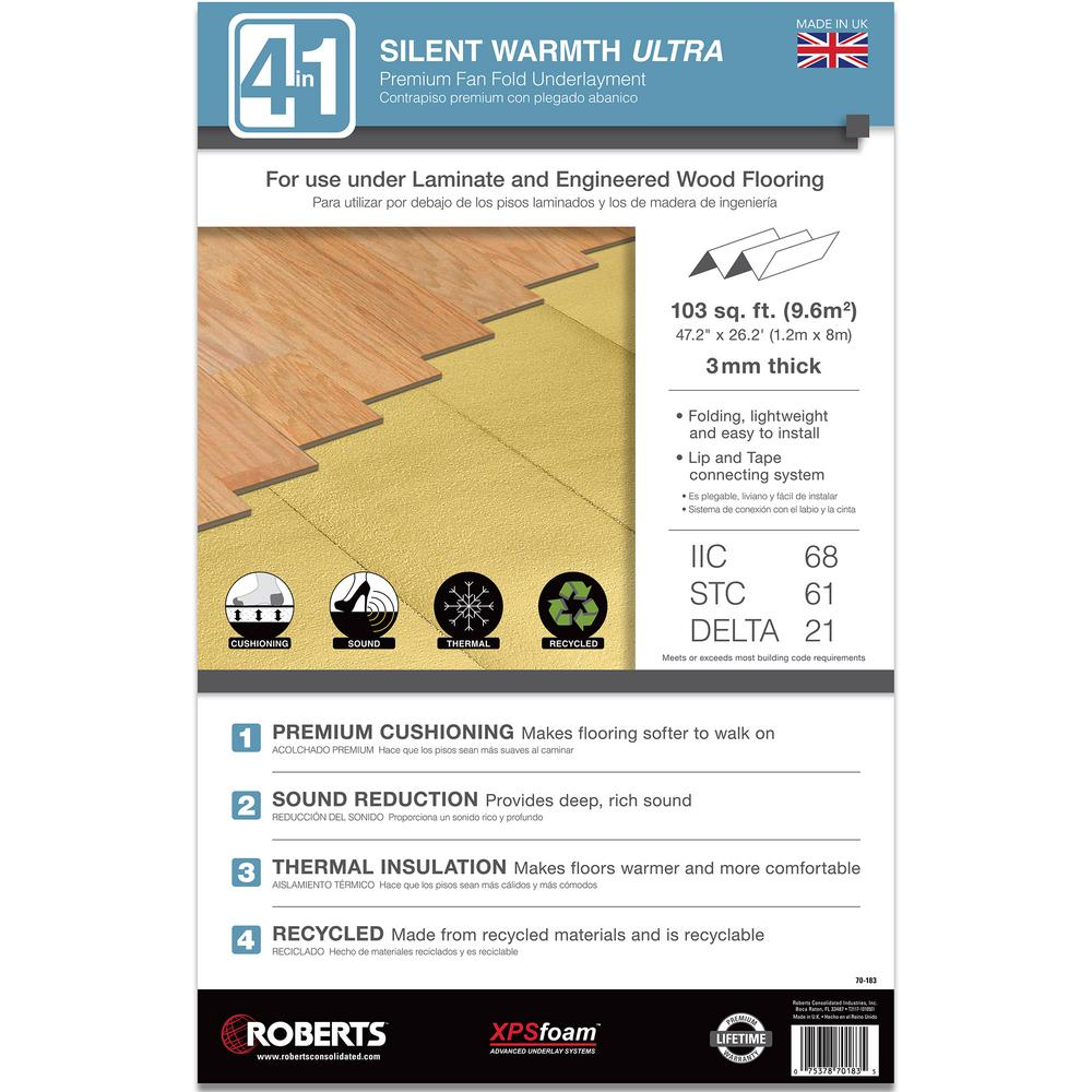 Roberts 3MM Silent Warmth Ultra 103 sq  ft  3 9 ft  x 26 2 ft  x 3 mm  4-in-1 Underlayment