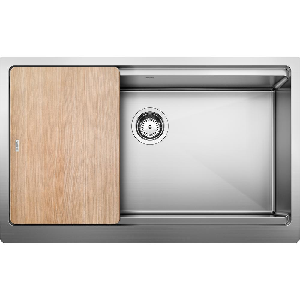 Blanco QUATRUS R15 ERGON Farmhouse Apron-Front Stainless Steel 33 in.  Single Bowl Kitchen Sink with Wood Cutting Board