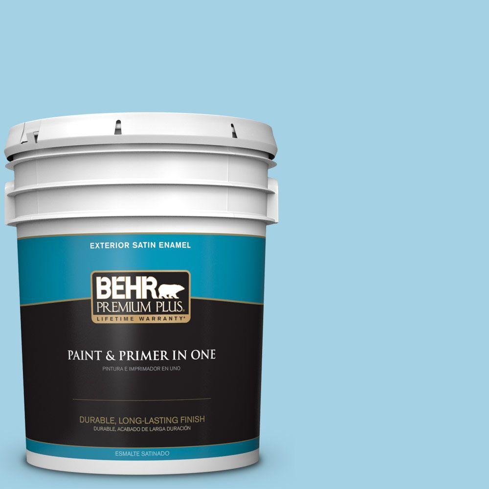 BEHR Premium Plus 5-gal. #540C-3 Sea Rover Satin Enamel Exterior Paint