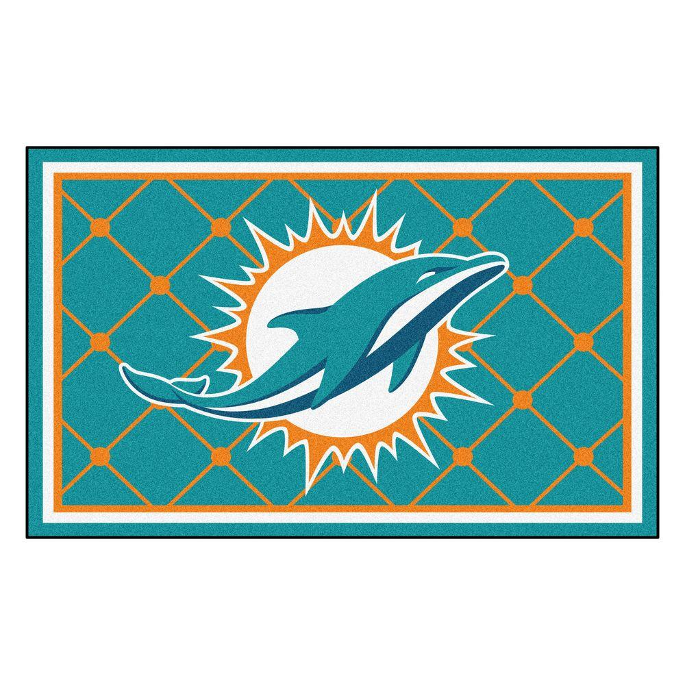 Fanmats Miami Dolphins 4 Ft X 6 Ft Area Rug 6588 The